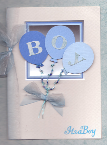 NB7 Baby Boy Balloons Card