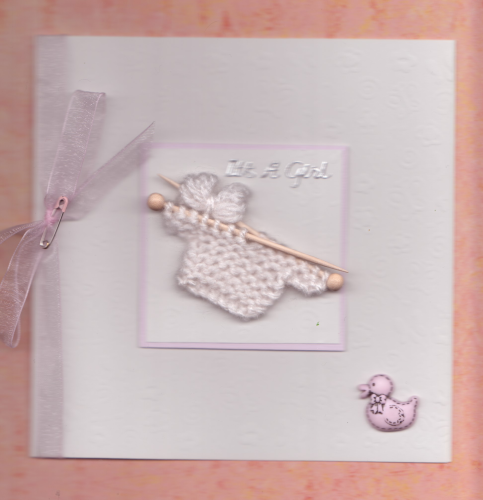 NB10 Baby Girl Card - Knitted Jumper