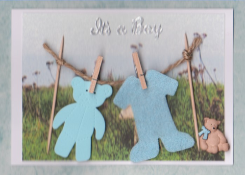 NB2, NB4 Baby Boy Card Washing Line