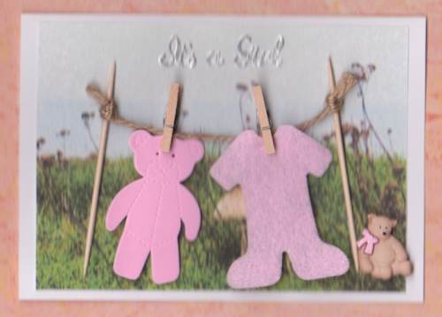 NB1, NB3 Baby Girl Card - Washing Line