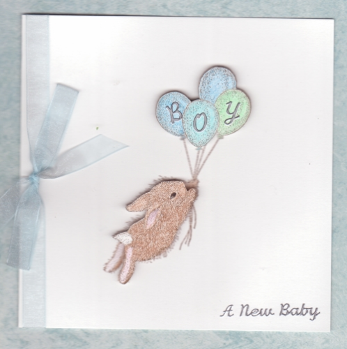 NB17 Baby Boy Card Balloon Bunny