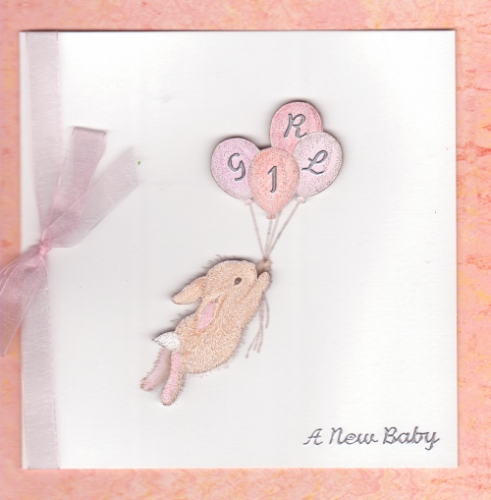 NB18 Baby Girl Card - Balloon Bunny