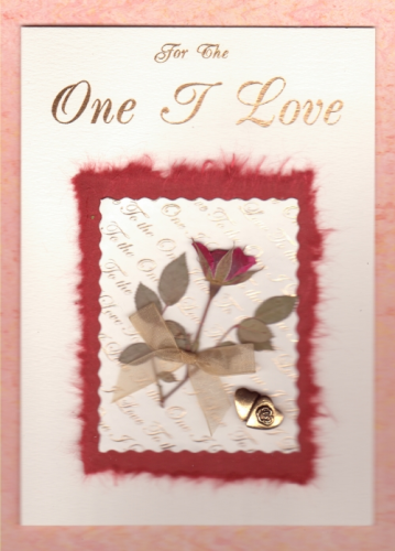 Handmade Valentine Card For The One I Love Rose