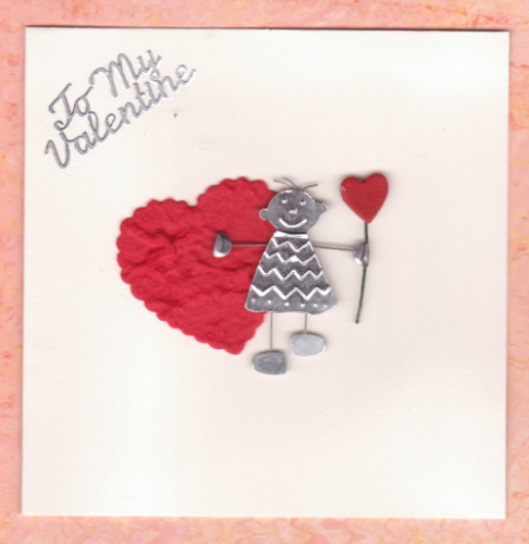 Handmade Valentine Card Metal Boy with Heart