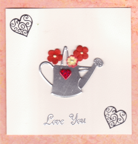 Handmade Valentine Card Metal Watering Can
