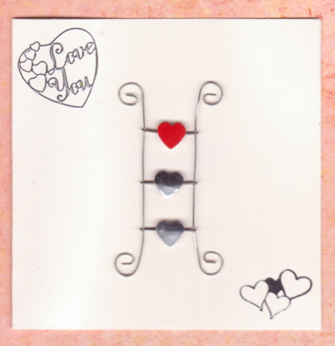 Handmade Valentine Card Metal Ladder with Hearts