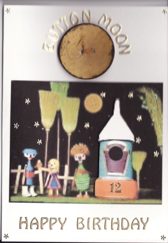 Handmade Button Moon Birthday Card