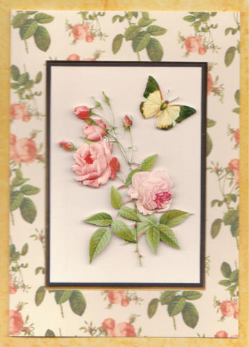 Handmade Card Redoute Rose Bright Pink