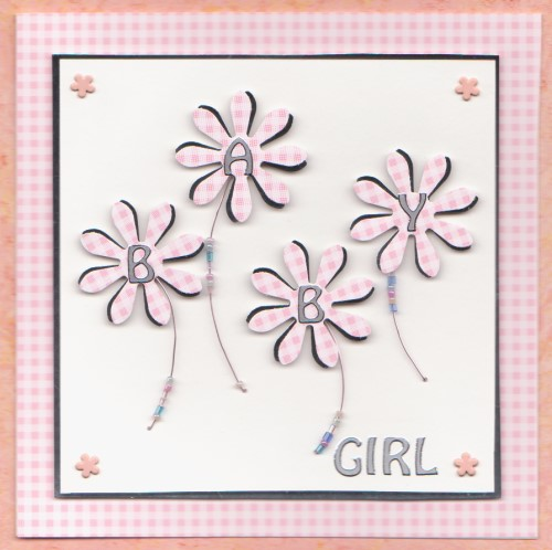 NB37 Baby Girl Card - Gingham Daisies