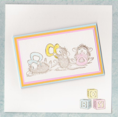 Handmade New Baby Boy Card Mice Babies