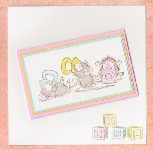 Handmade NewBaby Girl Card - Mice Babies