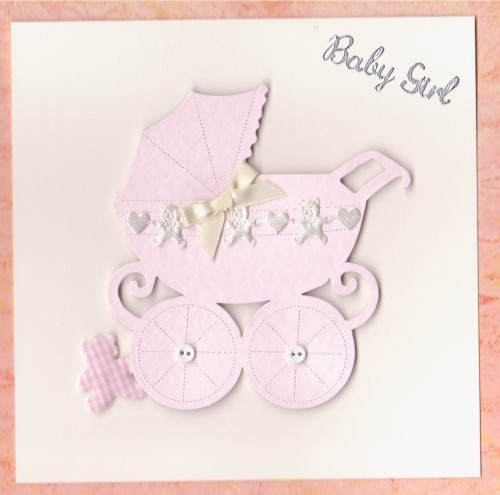NB23 Baby Girl Card - Pram
