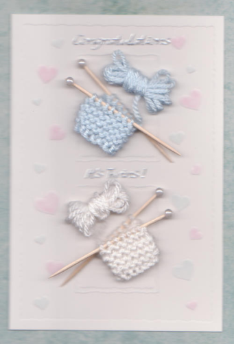 NB27 - NB29 Embossed New Twins Card with Knitting