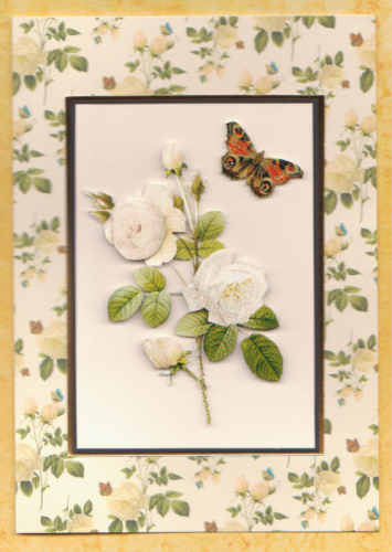 Handmade Card Redoute Rose White