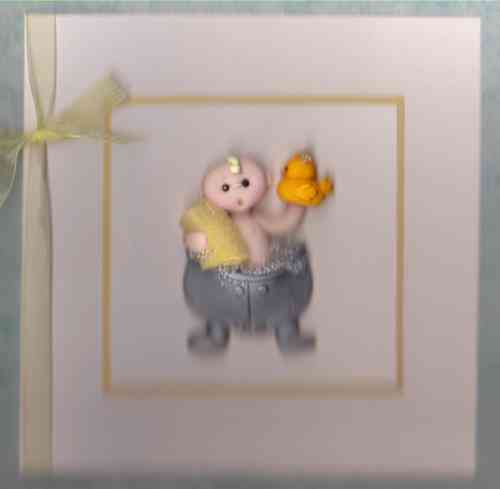 New Baby Card - Baby Bath
