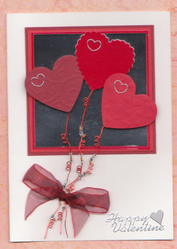 Handmade Valentine Card Beaded Heart Balloons