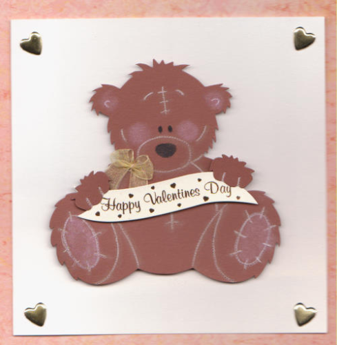 Handmade Valentine Card Teddy Bear