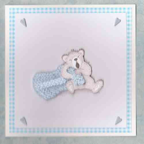 NB34 Baby Boy Card Baby Bear with Blanket