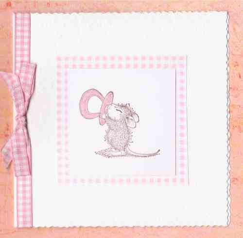 NB33 Baby Girl Card - Baby Mouse with Dummy