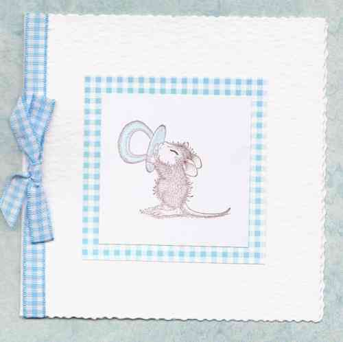 NB32 Baby Boy Card Baby Mouse with Dummy
