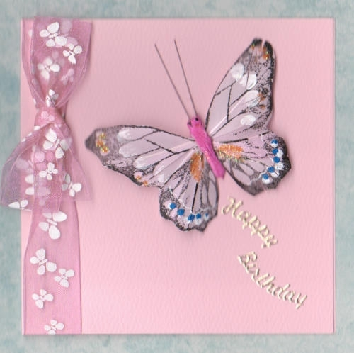 Handmade Birthday Card Feather Butterfly Card Pink Windrush
