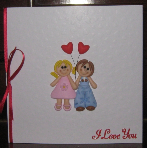 Handmade Valentine  Card Fimo Couple