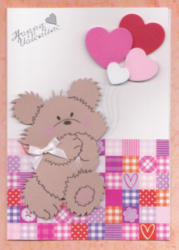 Handmade Valentine Card Balloon Bear