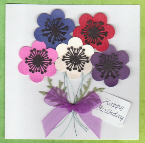 Handmade Birthday Card - Bunch of Anemonies
