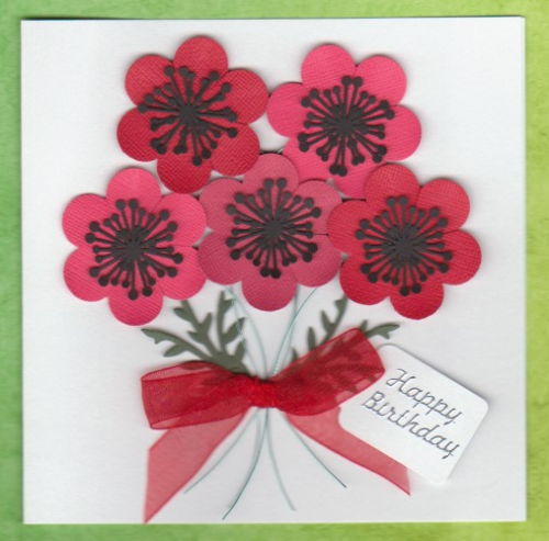 Handmade Birthday Card - Bunch of Poppies
