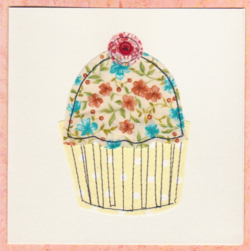 Handmade Birthday Card - Stitched Patchwork Cupcake