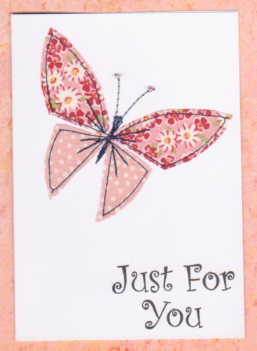 Handmade Card - Stitched Patchwork Butterfly Small