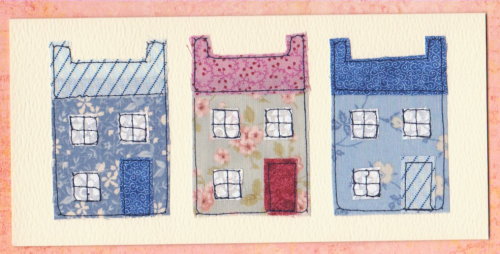 HB165, HB166 Handmade Birthday Card - Patchwork Houses