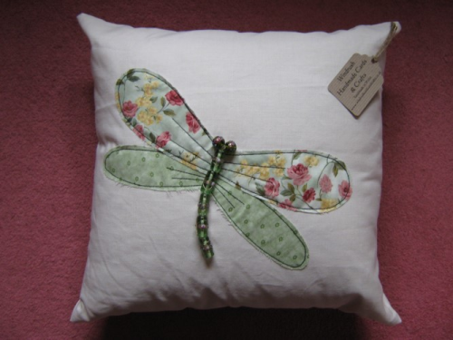 Handmade Cushion Linen Beaded Dragonfly Green