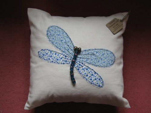 Handmade Cushion Linen Beaded Dragonfly Blue