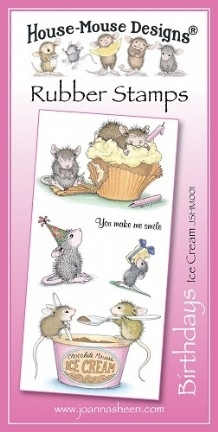 House Mouse Design Unmounted Rubber Stamp Set Birthdays - Icecream