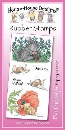 House Mouse Design Unmounted Rubber Stamp Set Birthdays - Poppy
