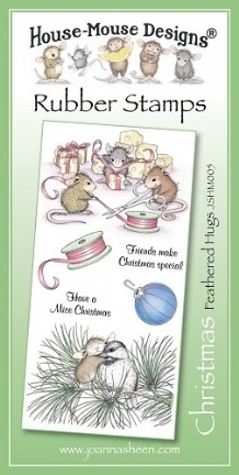 House Mouse Design Unmounted Rubber Stamp Set Christmas - Feathered Hugs
