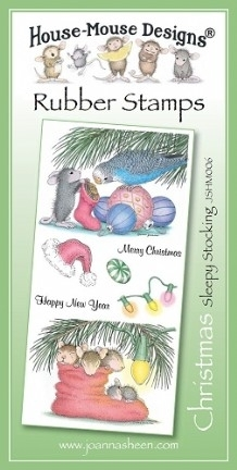 House Mouse Design Unmounted Rubber Stamp Set Christmas - Sleepy Stocking