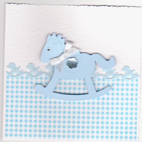 NB52 Baby Boy Card Rocking Horse