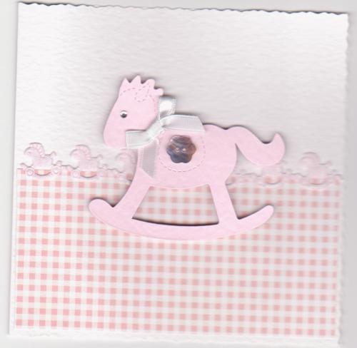 NB51 Baby Girl Card - Rocking Horse