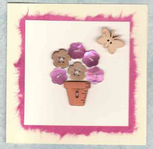 HB104, HB106, HB150 Handmade Birthday Card - Mother of Pearl Button Flowers Bright