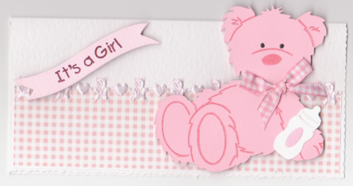 NB47 Baby Girl Card - Baby Bear