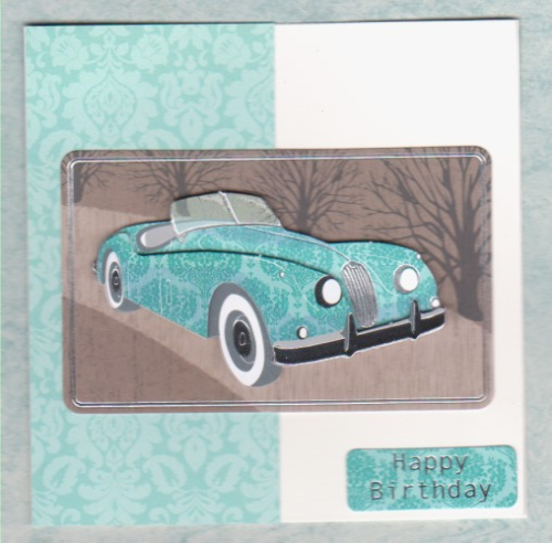 HB179, HB180 Handmade Card - Retro Classic Jaguar Sports Car
