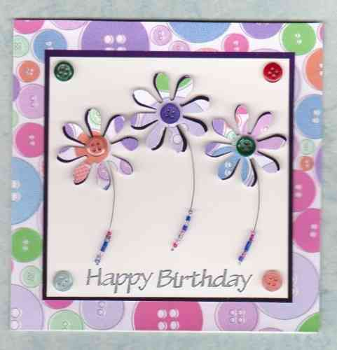 HB36 Handmade Birthday Card - Funky Button Flowers