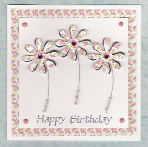 HB37 Handmade Birthday Card - Funky Flowers