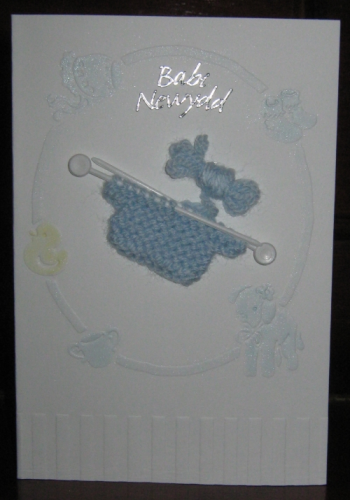 Handmade Welsh  Baby Boy Card with Knitted Jumper - Babi Newydd