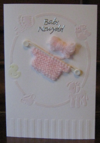 Handmade Welsh Baby Girl Card with Knitted Jumper - Babi Newydd
