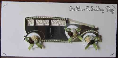 Handmade Wedding Card - WD16 Wedding Limousine - Cream