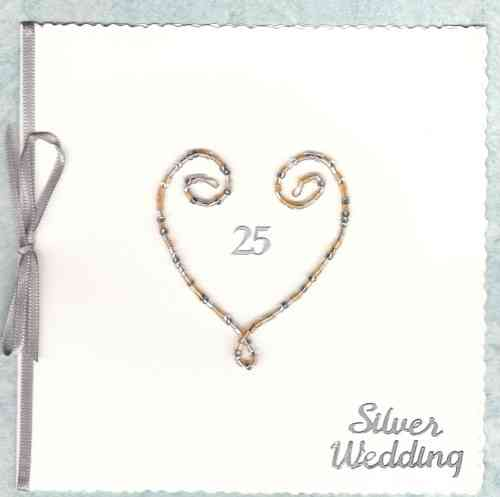 Handmade Silver Anniversary Card - Beaded Wire Heart - Silver