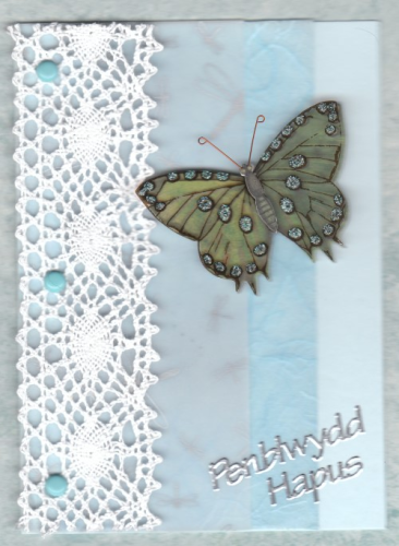 Handmade Welsh Birthday Card Butterfly & Lace - Penblwydd Hapus
